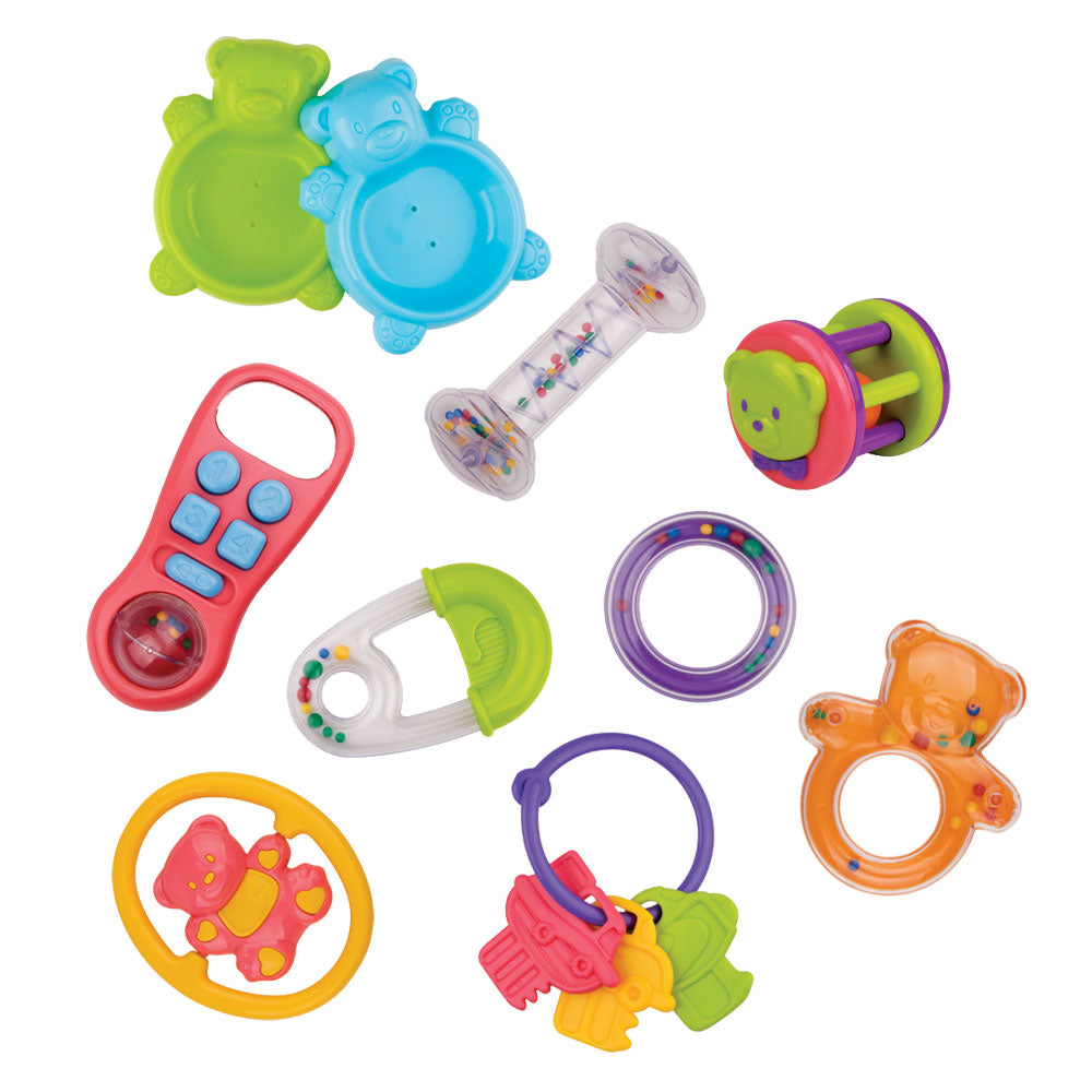 SET of 10 Colorful Durable Plastic Interactive Infant Development toys including Various Rattles, Pretend Phone, Plastic Key Ring and Much More!