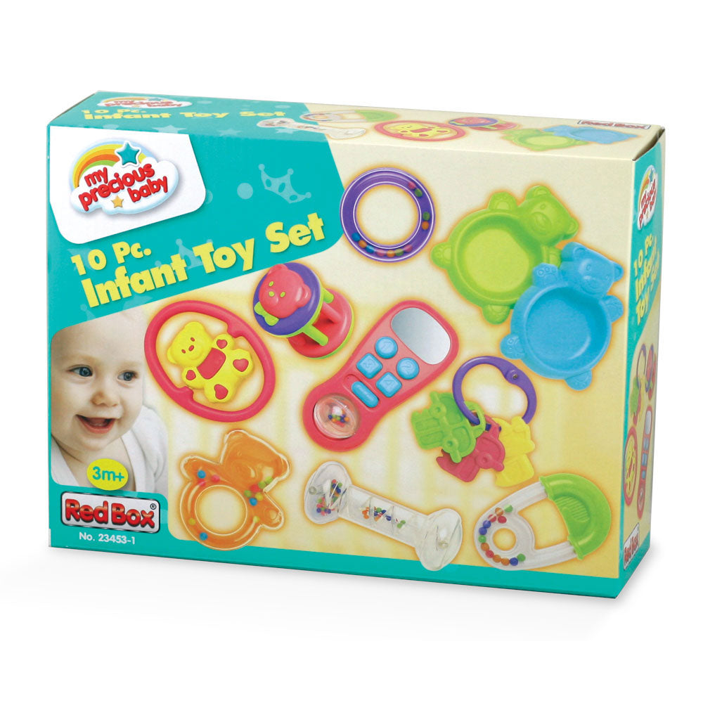 SET of 10 Colorful Durable Plastic Interactive Infant Development toys including Various Rattles, Pretend Phone, Plastic Key Ring and Much More in its Original Packaging by My Precious Baby.