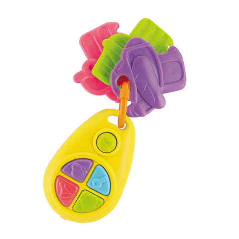 Durable Plastic Colorful Set of Keys on a Key Ring with 3 Soft Jumbo Keys, 5 Colorful Buttons to Press and Realistic Car Sounds by My Precious Baby.