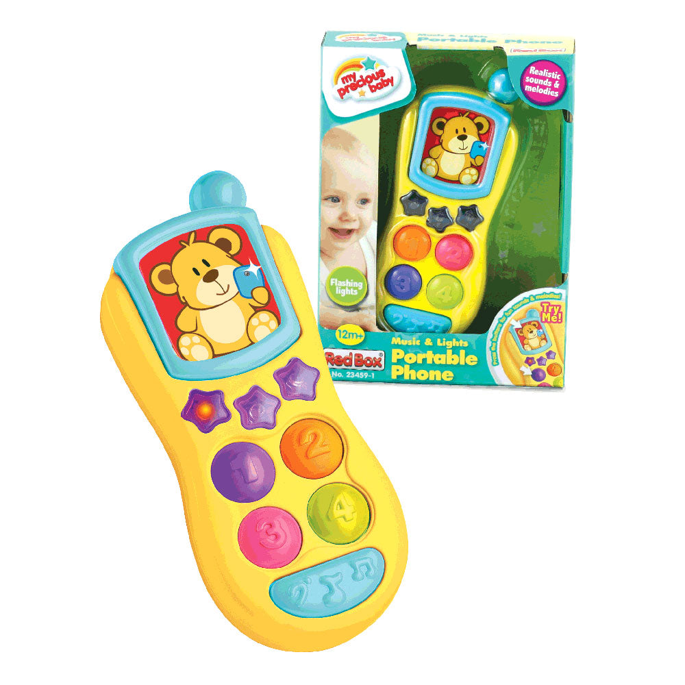 Bright Yellow Durable Plastic Portable Pretend Play Phone has 8 Large Buttons, Lights Up, Plays Melodies, Realistic Phone Sounds and Conversational Phrases for ages 12 Months and Up by My Precious Baby.
