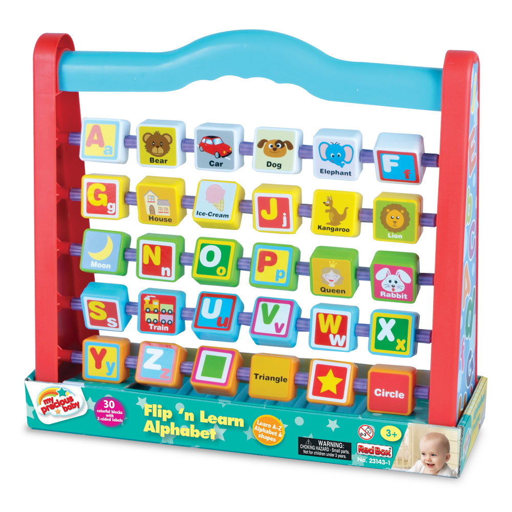 Hands On Durable Plastic Flip and Learn Alphabet Playset containing 30 Colorful 2 Sided Spinning Blocks with Upper and Lower Case Letters on One Side and an Illustration and Object associated with the Letter on the Other Side. Also Includes Shape Recognition Blocks by My Precious Baby.