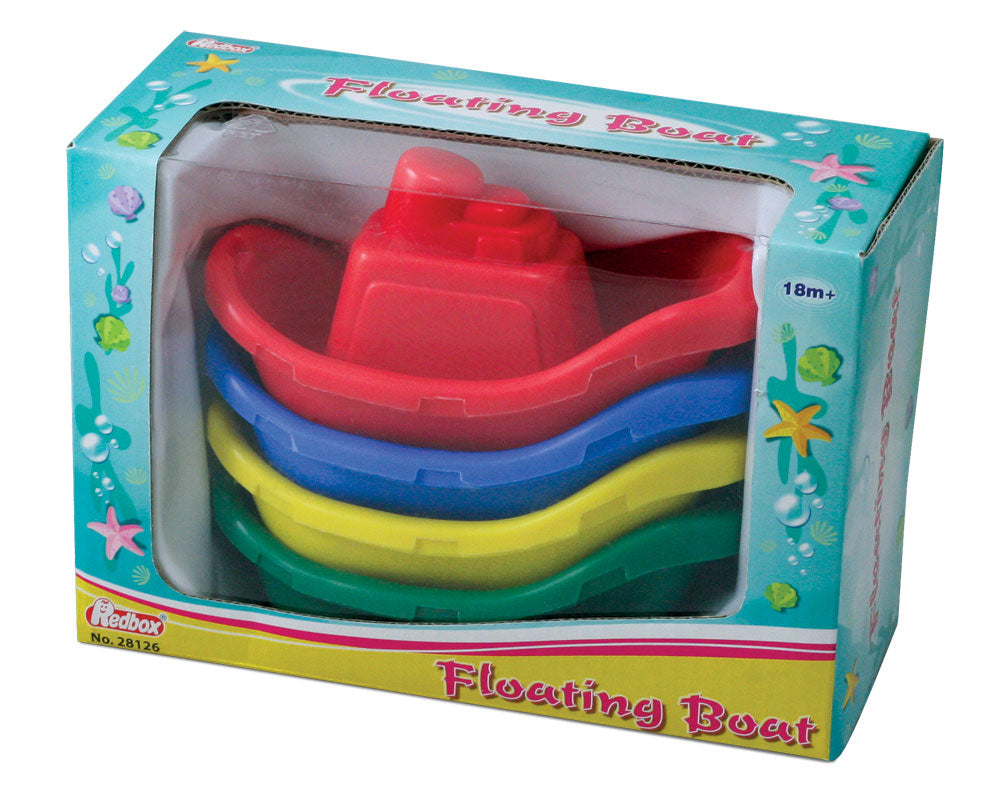 Set of 4 Stackable Colorful Plastic Floating Boats perfect for fun in the Tub or Bath each measuring 4.5 Inches Long in its Original Packaging by RedBox / Motormax.