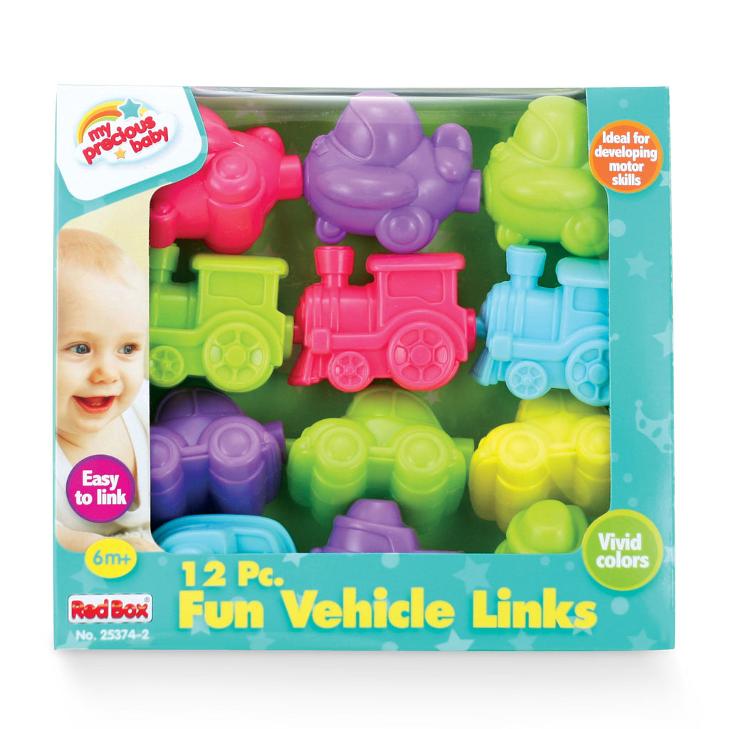 SET of 12 Durable Plastic Colorful Snap Together Vehicles including Trains, Cars, Airplanes and Boats each measuring 3.5 Inches Long in its Original Packaging by My Precious Baby.