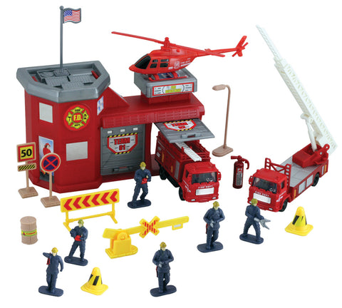 1:64 Scale Deluxe Fire Station Playset with two Garage Doors including a Fire Extinguisher, 6 Firefighters, 2 Fire Engines, an Emergency Helicopter, a US Flag, Accessories and More!