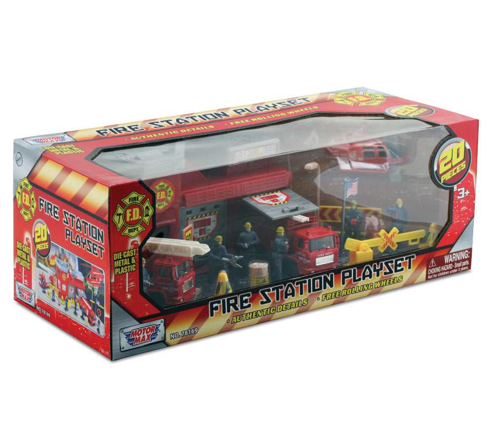 1:64 Scale Deluxe Fire Station Playset with two Garage Doors including a Fire Extinguisher, 6 Firefighters, 2 Fire Engines, an Emergency Helicopter, a US Flag, Accessories and More in its Original Packaging.