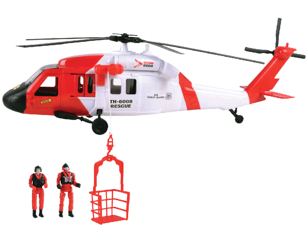 24 inch Durable Plastic Replica US Coast Guard Sikorsky UH-60 Black Hawk Rescue Helicopter Playset including 2 Poseable Action Figures, Working Winch, Movable Rotor, and Opening Doors by RedBox / Motormax