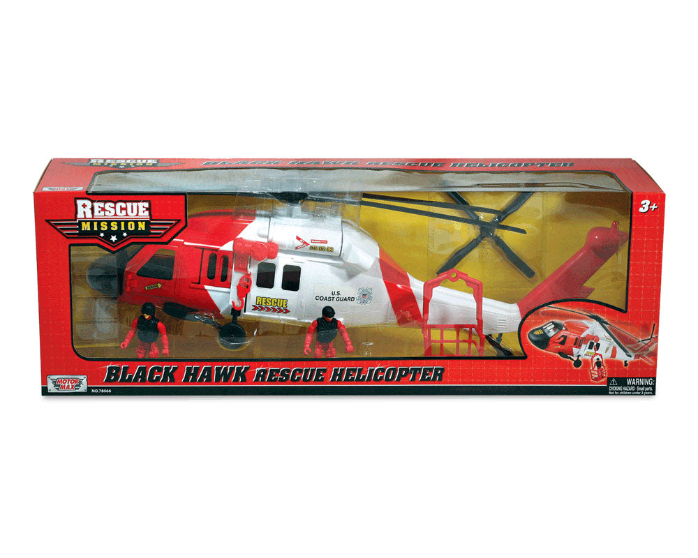 24 inch Durable Plastic Replica US Coast Guard Sikorsky UH-60 Black Hawk Rescue Helicopter Playset including 2 Poseable Action Figures, Working Winch, Movable Rotor, and Opening Doors in its Original Packaging by RedBox / Motormax