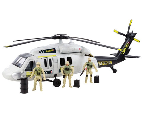 24 inch Battery Operated Durable Plastic Replica Sikorsky UH-60 Black Hawk Helicopter Playset including 3 Poseable Army Soldier Figures, Fuel Cans, Movable Rotor, and Opening Doors by RedBox / Motormax