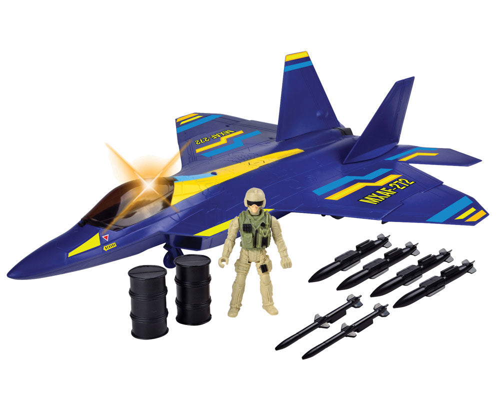 Giant 24 inch Battery Operated Durable Plastic Toy Airplane Playset Lockheed Martin F-22 Raptor Playset including 1 Poseable Army Soldier Figure, Fuel Cans, Missiles, Working Cockpit Door & Retractable Landing Gear Battle Zone by RedBox / Motormax