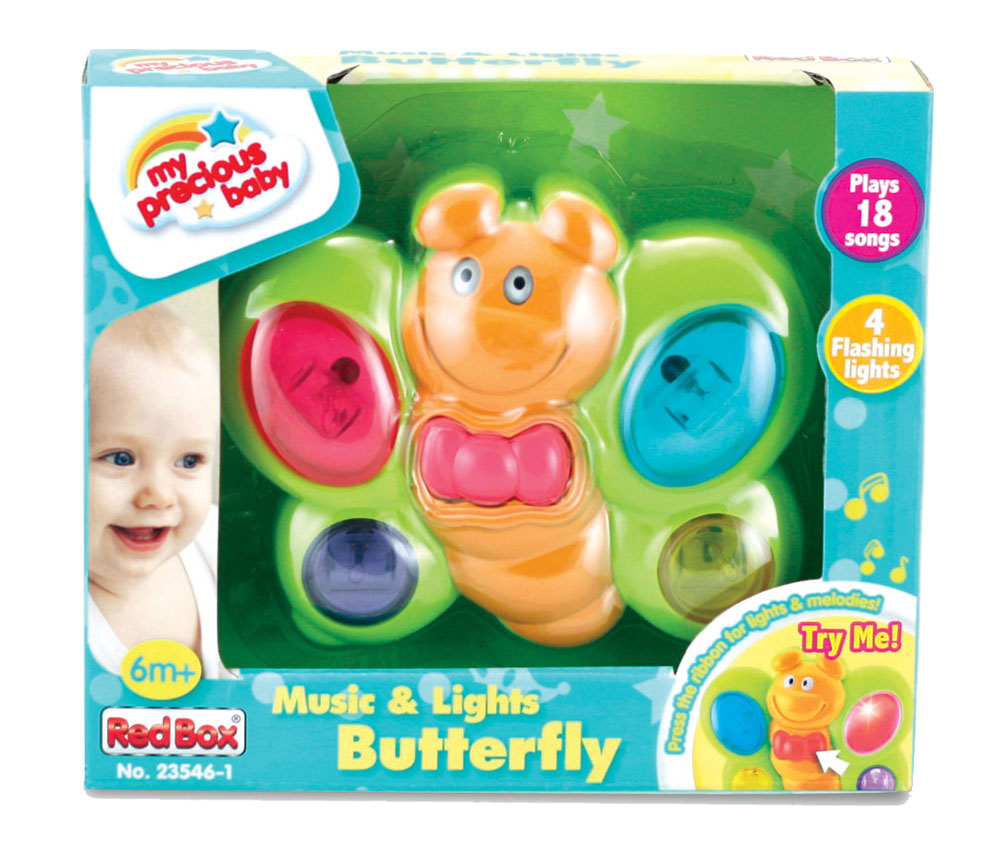 Bright Green and Orange Durable Plastic Battery Operated Butterfly that features 18 Different Tunes, Colorful Buttons, and Flashing Lights in its Original Packaging by My Precious Baby.
