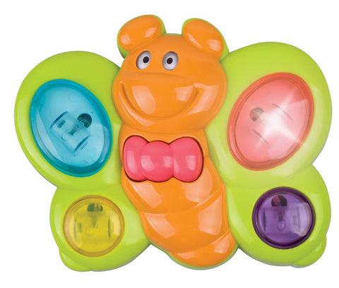 Bright Green and Orange Durable Plastic Battery Operated Butterfly that features 18 Different Tunes, Colorful Buttons, and Flashing Lights by My Precious Baby.