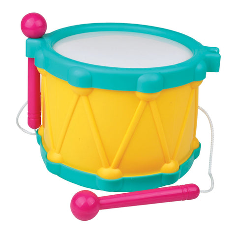 Durable Plastic Colorful Children's Musical Instrument Percussion Drum with Drumsticks attached by String.