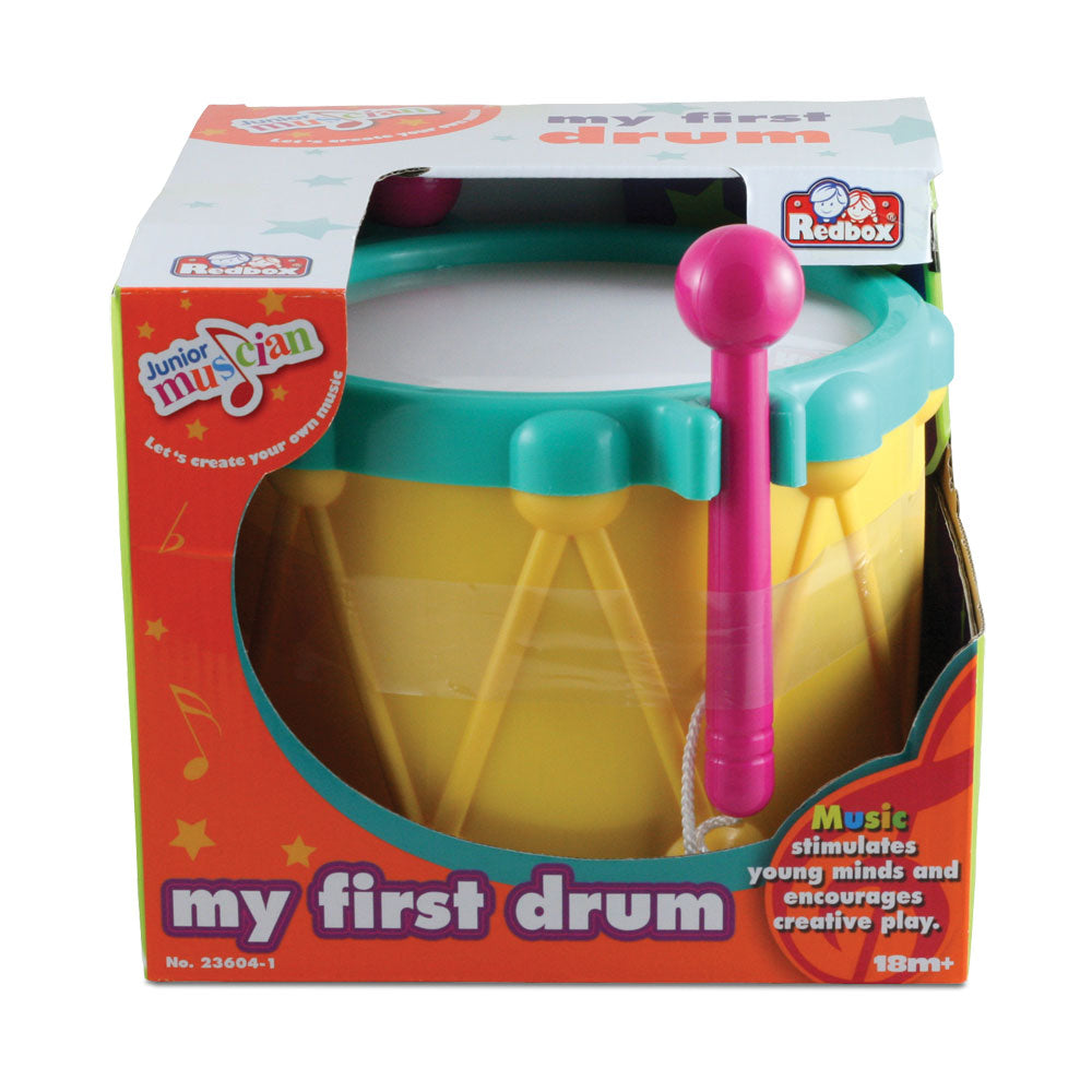 Durable Plastic Colorful Children's Musical Instrument Percussion Drum with Drumsticks attached by String in its Original Packaging.