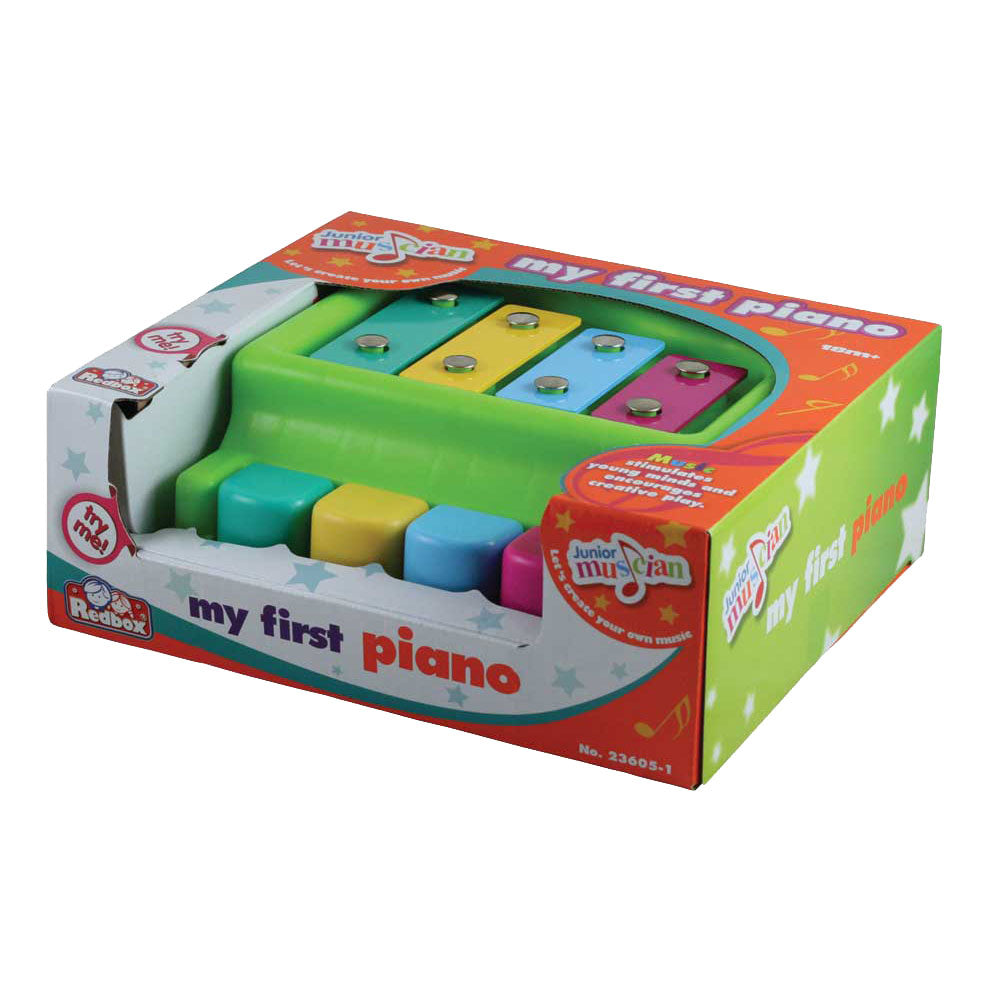 Durable Plastic Colorful Children's Musical Instrument Piano with 4 Keys in its Original Packaging.