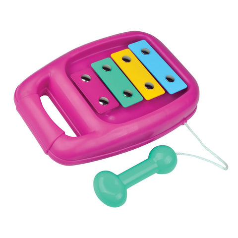 Durable Plastic Colorful Children's Musical Instrument Xylophone with Attached Percussion Mallet.