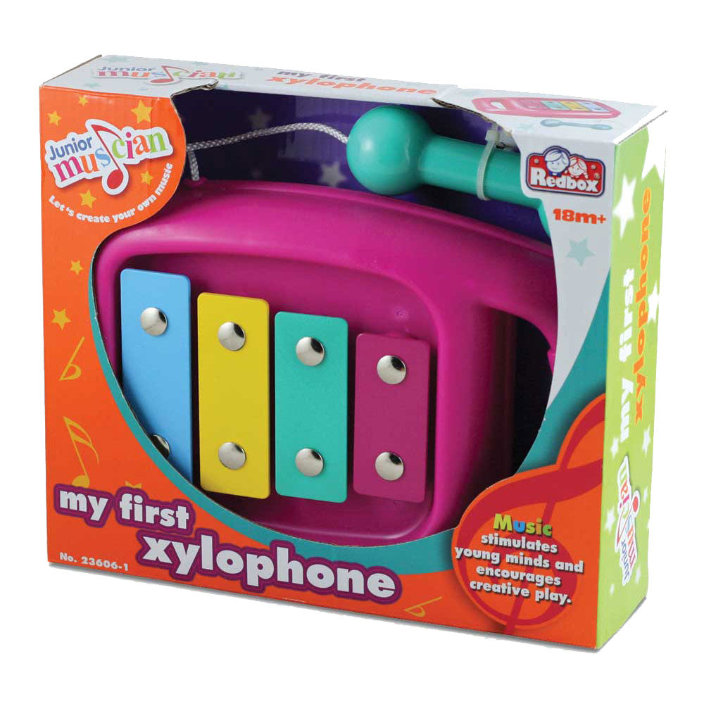 Durable Plastic Colorful Children's Musical Instrument Xylophone with Attached Percussion Mallet in its Original Packaging.