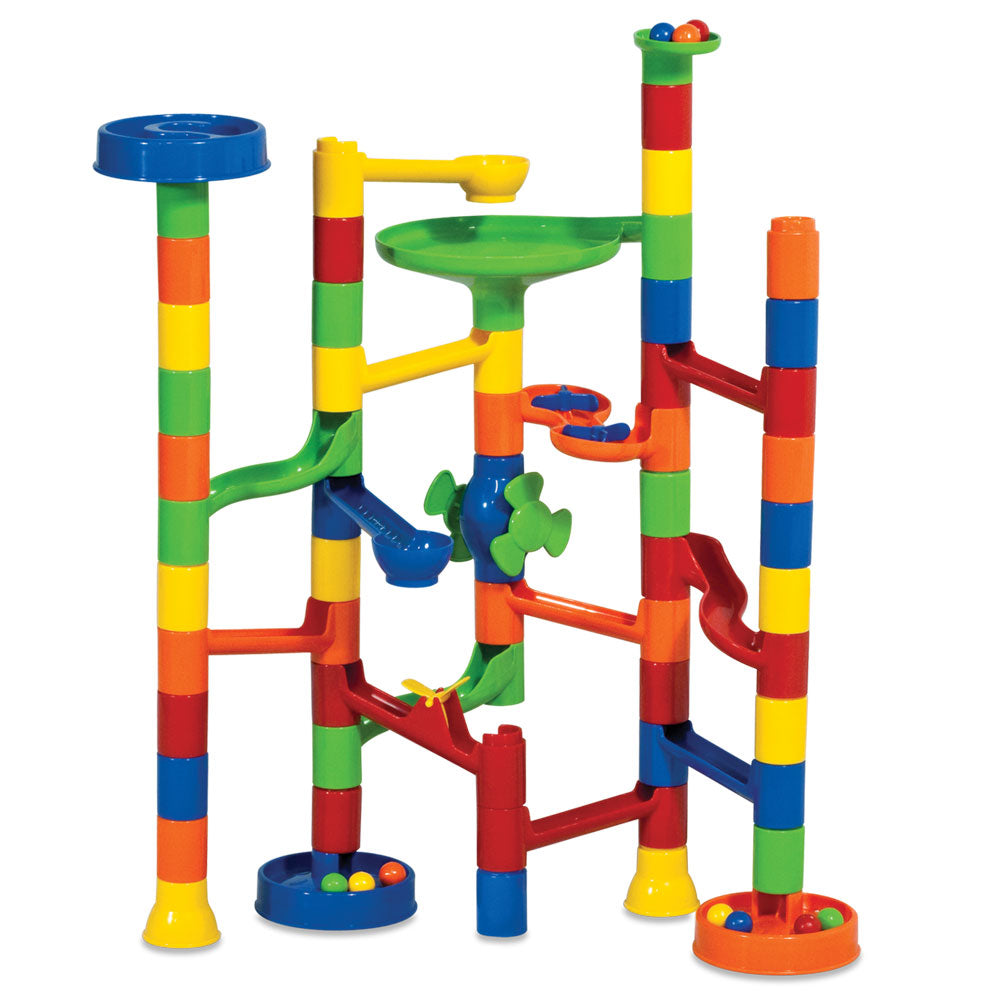 Durable Plastic 55-Piece Labyrinth Marble Playset with 5 Colorful Marbles and 50 Varying Interchangeable Plastic Maze Pieces to create Different Paths by RedBox / Motormax.