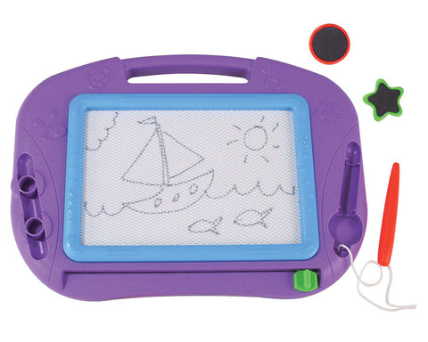 12 by 9 Inch Durable Plastic Purple Magnetic Sketch Pad including a Magic Pen, Magic Eraser and 2 Shaped Magnetic Stampers with a Convenient Carry Handle.