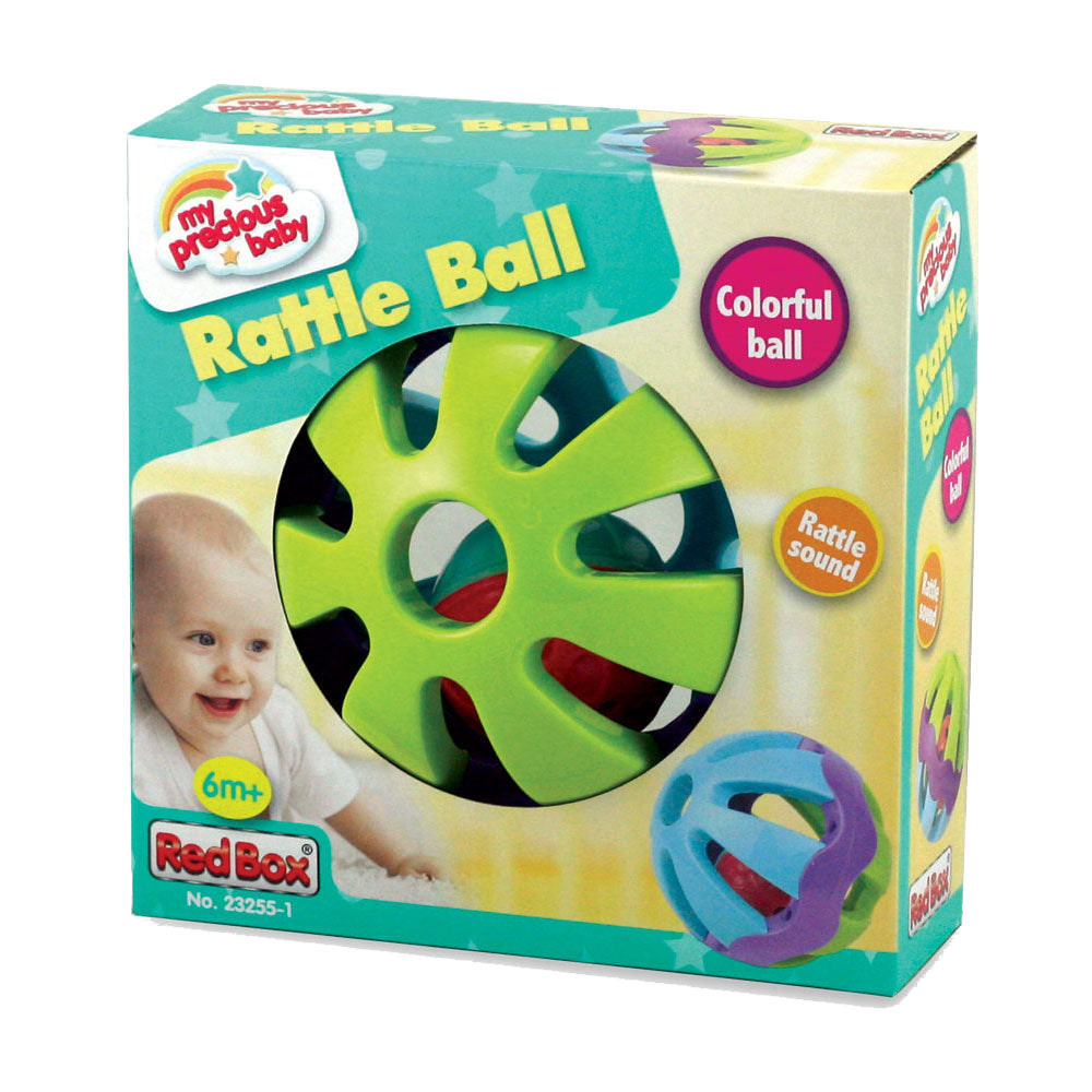 Colorful Durable Plastic Easy Grip Infant Toy Rattle Ball in its Original Packaging by My Precious Baby.