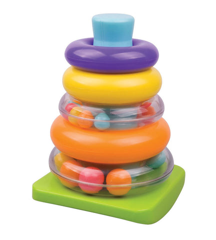 Colorful Durable Plastic Ring Shape Sorter with 5 Colorful Durable Plastic Rings 2 of which include a Rattle by My Precious Baby.