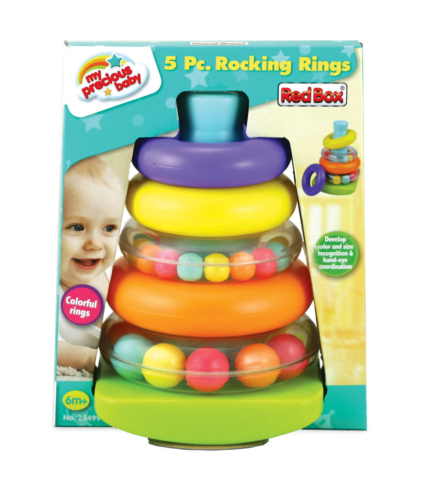 Colorful Durable Plastic Ring Shape Sorter with 5 Colorful Durable Plastic Rings 2 of which include a Rattle in its Original Packaging by My Precious Baby.