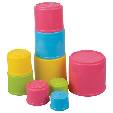 SET of 9 Durable Plastic Brightly Colored Stacking Cups featuring Holes for Water or Sand Play and Numbered for Practice Counting. Cups stack neatly inside one another for easy storage. By My Precious Baby.