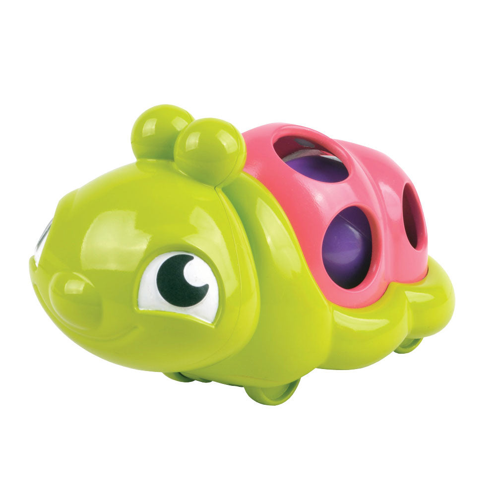 Bright Green and Pink Durable Plastic Wobbling Caterpillar with internal Moving Ball and Head that Wobbles when Pulled Along by My Precious Baby.