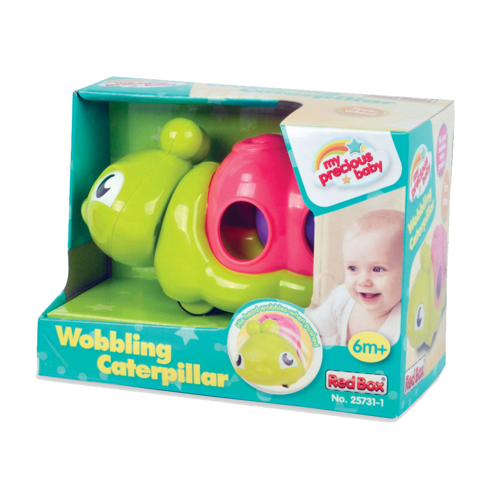 Bright Green and Pink Durable Plastic Wobbling Caterpillar with internal Moving Ball and Head that Wobbles when Pulled Along in its Original Packaging.