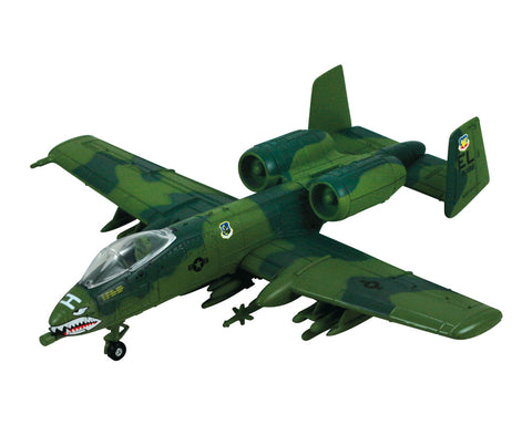 1:72 Scale Die Cast Metal Replica Model of a Camouflage Green Fairchild Republic A-10 Thunderbolt II Air Force Support Aircraft with Historically Accurate Markings, Display Stand and Educational Collectors Card.