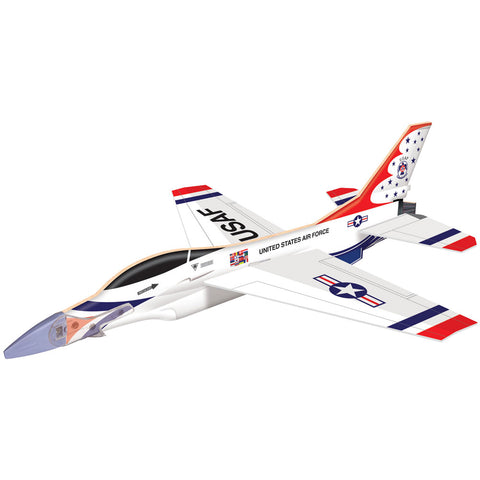 11.5 Inch Long Easy to Assemble Long Distance F-16 Fighting Falcon Thunderbirds Fighter Glider Aircraft with Rubber Band Launcher and Realistic Details & Markings.