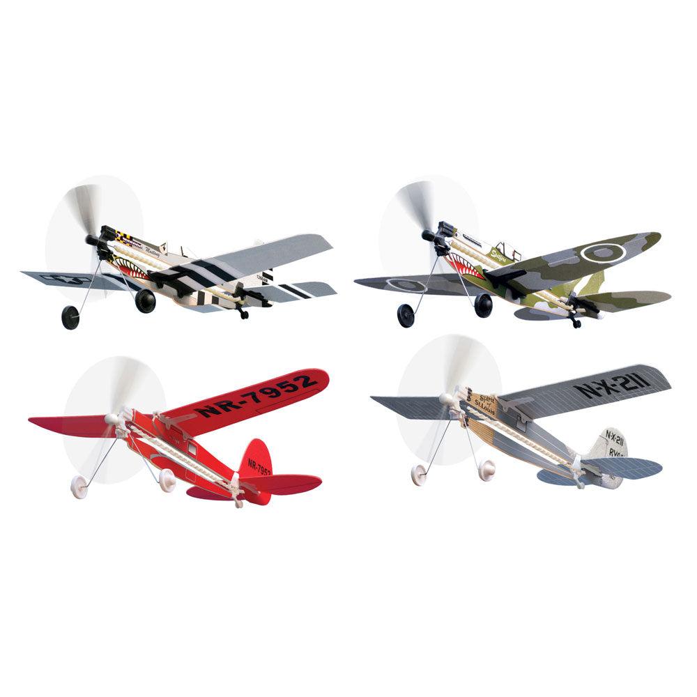 Smithsonian InAir - Easy to assemble, expertly designed flyers that help teach budding engineers and pilots the principle of flight. Includes P-51 Mustang, Lockheed Vega, Spitfire, Spirit of St. Louis. 5 minute build up time Easy-to-follow instructions included No tools or glue required