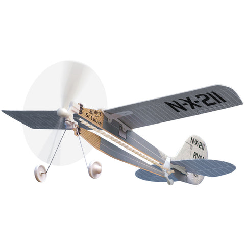 10.5 Inch Long Easy to Assemble Long Distance Spirit of St Louis Flyer Aircraft with Rubber Band Powered Propeller and Realistic Details & Markings as flown by Charles Lindbergh on the first Solo Transatlantic Flight.