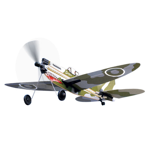 10 Inch Long Easy to Assemble Long Distance British Royal Air Force Camouflage Supermarine Spitfire World War II Aircraft with Rubber Band Powered Propeller and Realistic Details & Markings.