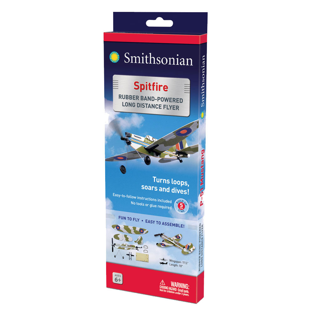10 Inch Long Easy to Assemble Long Distance British Royal Air Force Camouflage Supermarine Spitfire World War II Aircraft with Rubber Band Powered Propeller and Realistic Details & Markings in its Original Packaging.