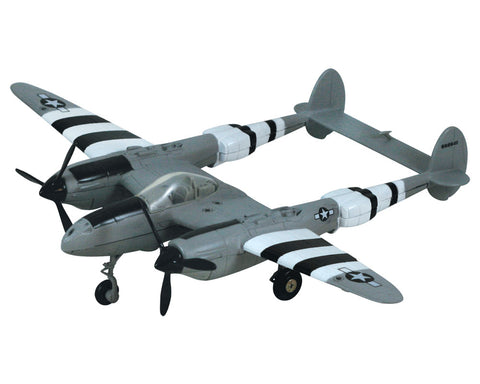 "1:60 Scale Die Cast Metal Replica Model of a Lockheed P-38 Lightning ""Fork Tailed Devil"" World War II Fighter Aircraft with Historically Accurate Markings, Display Stand and Educational Collectors Card."