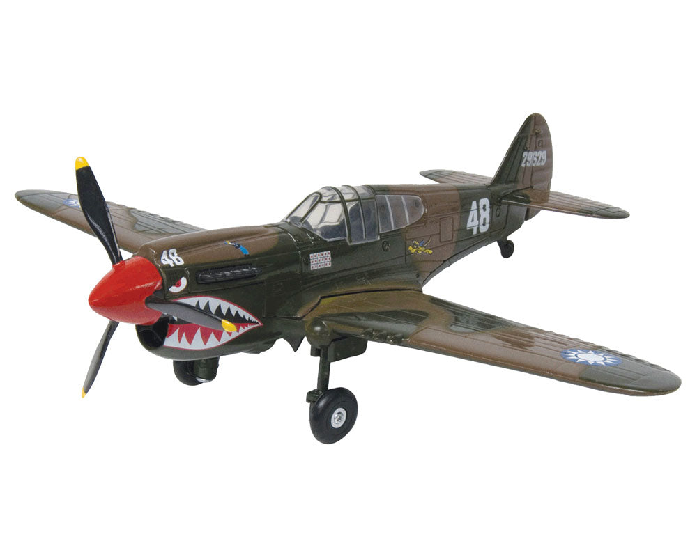 1:48 Scale Die Cast Metal Replica Model of a Curtiss P-40 Warhawk Kittyhawk World War II Fighter Aircraft with Historically Accurate Markings, Display Stand and Educational Collectors Card.