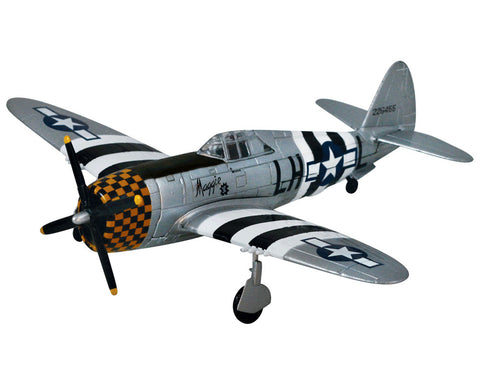 1:48 Scale Die Cast Metal Replica Model of a Republic P-47 Thunderbolt World War II Fighter Bomber Aircraft with Historically Accurate Markings, Display Stand and Educational Collectors Card.