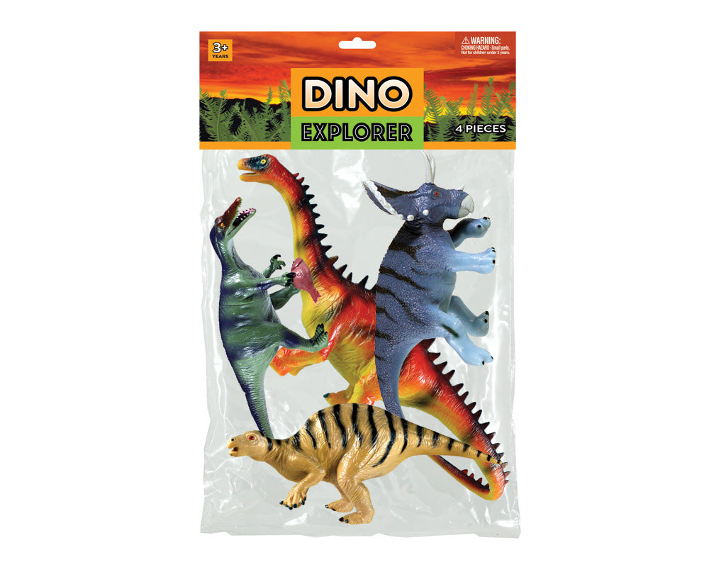 Bagged SET of 4 Assorted Plastic Dinosaurs in its original packaging.