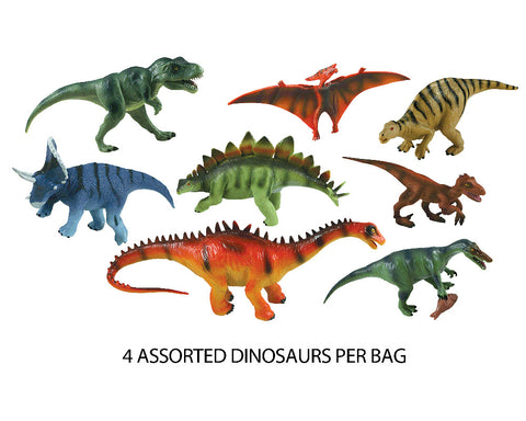 8 Assorted Plastic Dinosaurs measuring between 5 and 8 inches each.