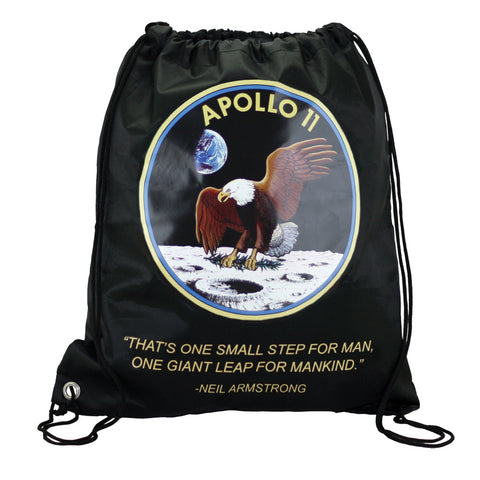 Black Adjustable Drawstring Backpack with Imprinted Apollo 11 Mission Insignia, Neil Armstrong Quote made from 100% Polyester and Braided Nylon Straps by InAir.