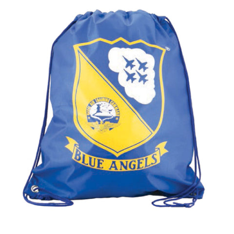 Blue Adjustable Drawstring Backpack with Imprinted Blue Angels Naval Air Training Command Logo made from 100% Polyester by InAir.