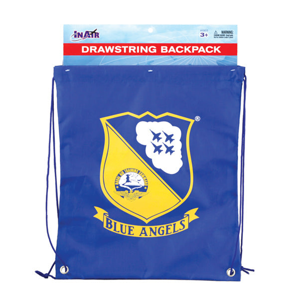 Blue Adjustable Drawstring Backpack with Imprinted Blue Angels Naval Air Training Command Logo made from 100% Polyester in its Original Packaging by InAir.