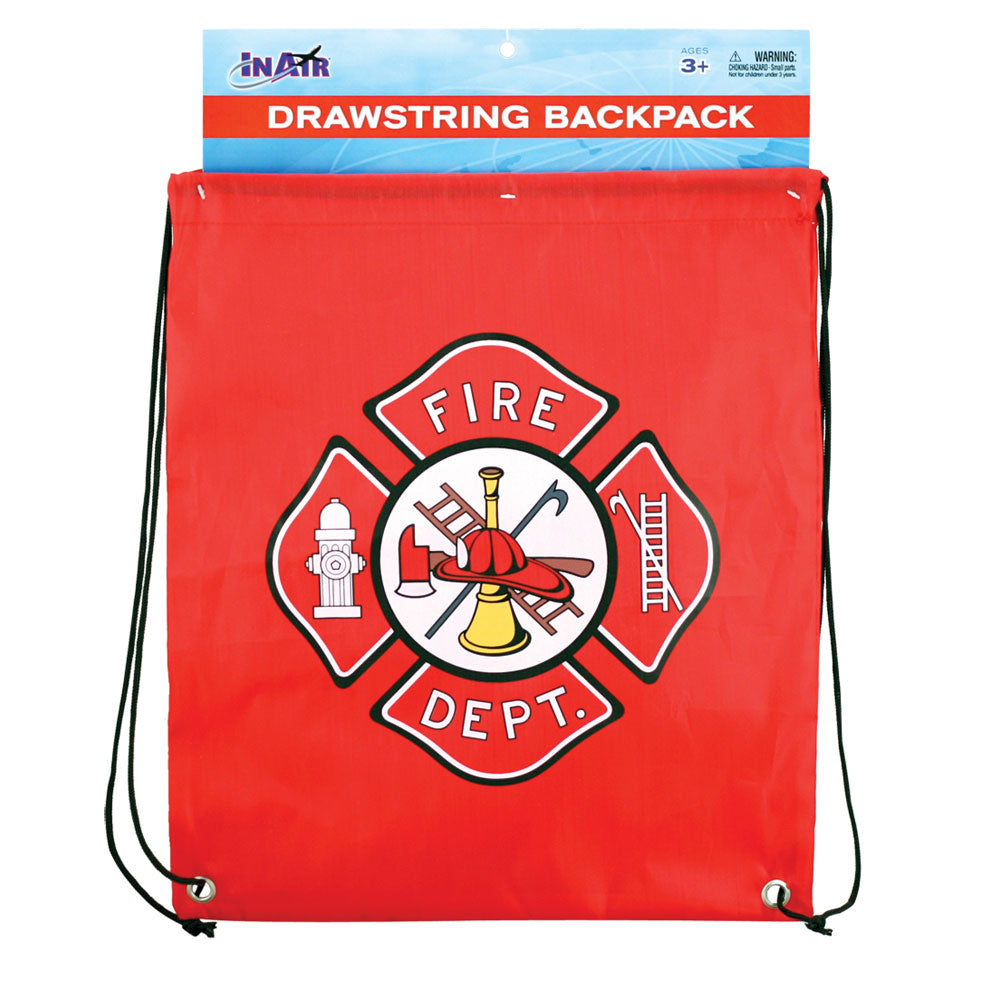 Red Adjustable Drawstring Backpack with Imprinted Fire Department Badge Insignia made from 100% Polyester in its Original Packaging by InAir.