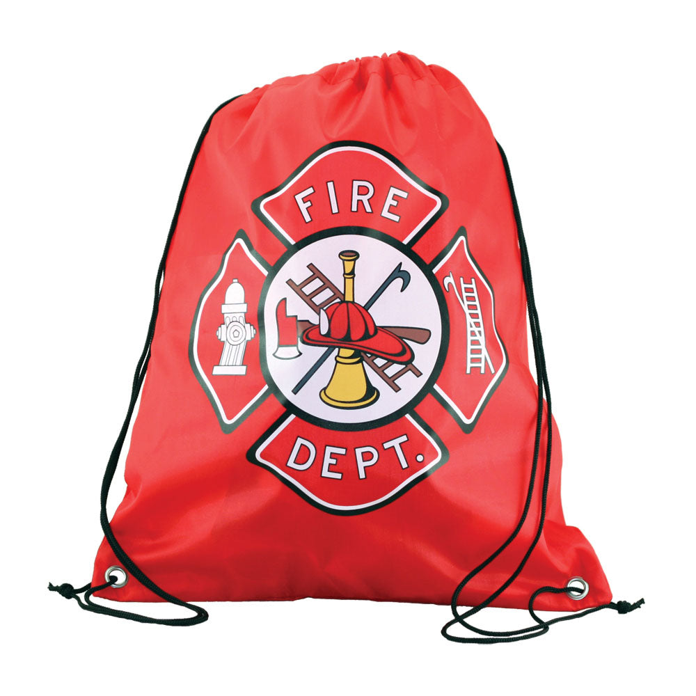 Red Adjustable Drawstring Backpack with Imprinted Fire Department Badge Insignia made from 100% Polyester by InAir.