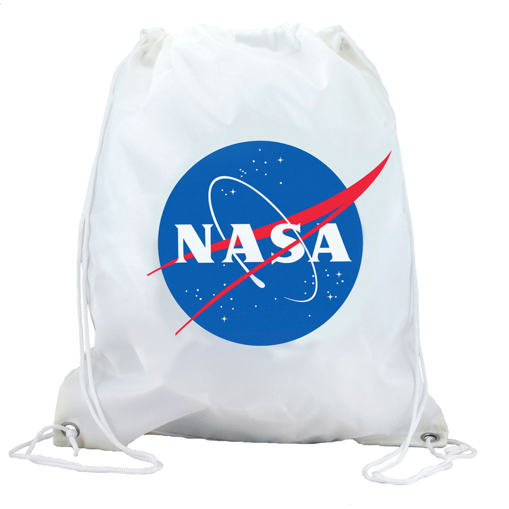 White Adjustable Drawstring Backpack with Imprinted NASA Logo Insignia made from 100% Polyester and Braided Nylon Straps by InAir.