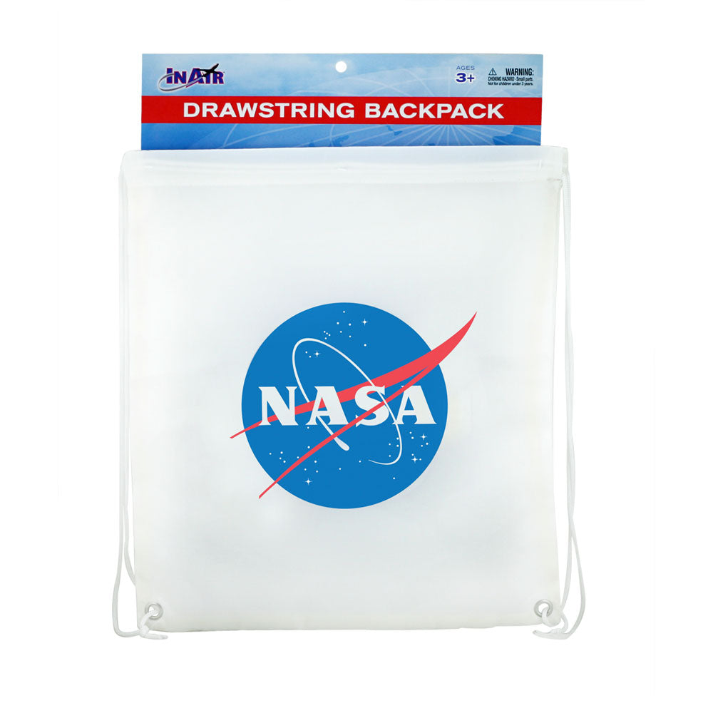 White Adjustable Drawstring Backpack with Imprinted NASA Logo Insignia made from 100% Polyester and Braided Nylon Straps in its Original Packaging by InAir.