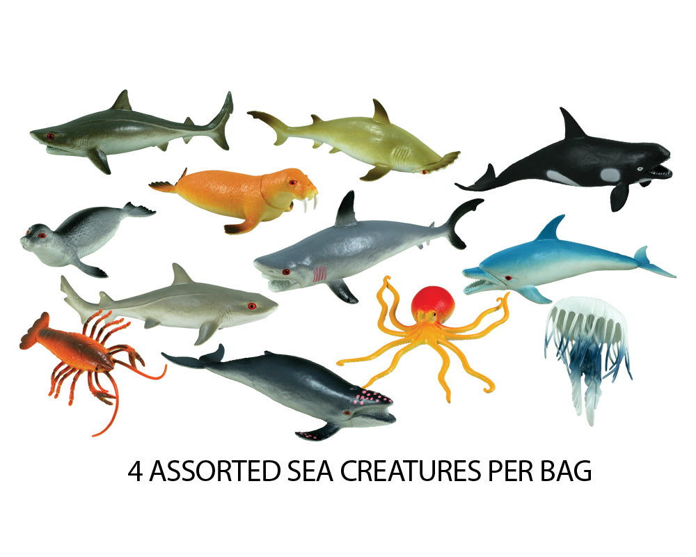 12 Assorted Plastic Sea Creatures measuring between 5 and 8 inches each.