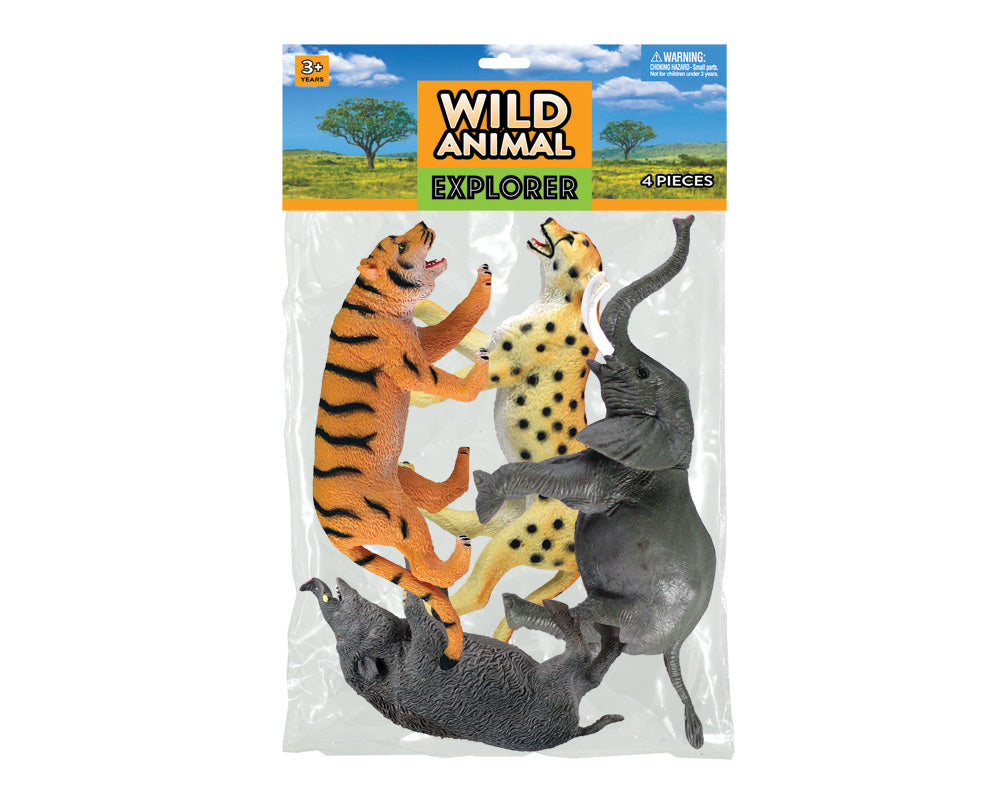 Bagged SET of 4 Assorted Plastic Wild Animals in its original packaging.
