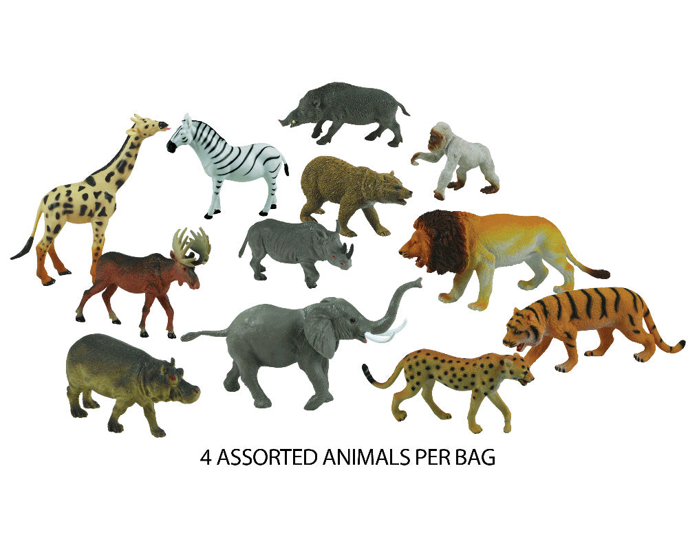 12 Assorted Plastic Wild Animals measuring between 5 and 8 inches each.