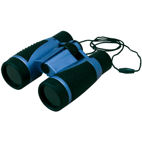 Lightweight Blue Plastic Soft-Grip Children's Binoculars including Neck Strap and 4 x 30 Magnification by Eastcolight.